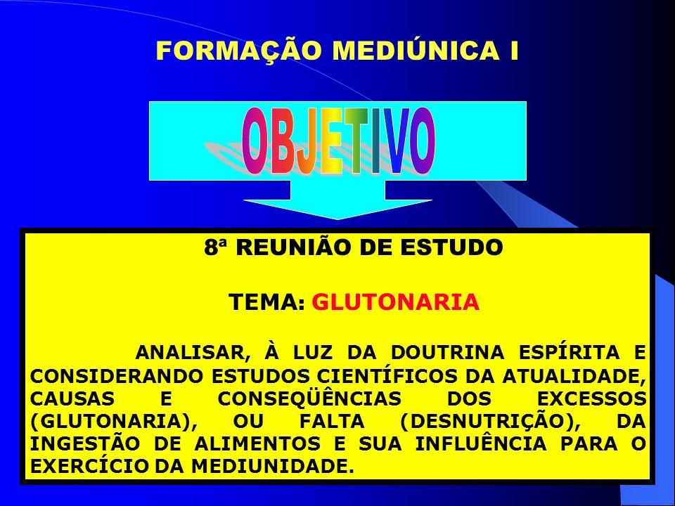 OBJETIVO FORMAÇÃO MEDIÚNICA I 8ª REUNIÃO DE ESTUDO TEMA: GLUTONARIA