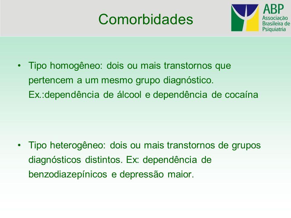 ComorbidadesTipo homogêneo: dois ou mais transtornos que pertencem a um mesmo grupo diagnóstico. Ex.:dependência de álcool e dependência de cocaína.