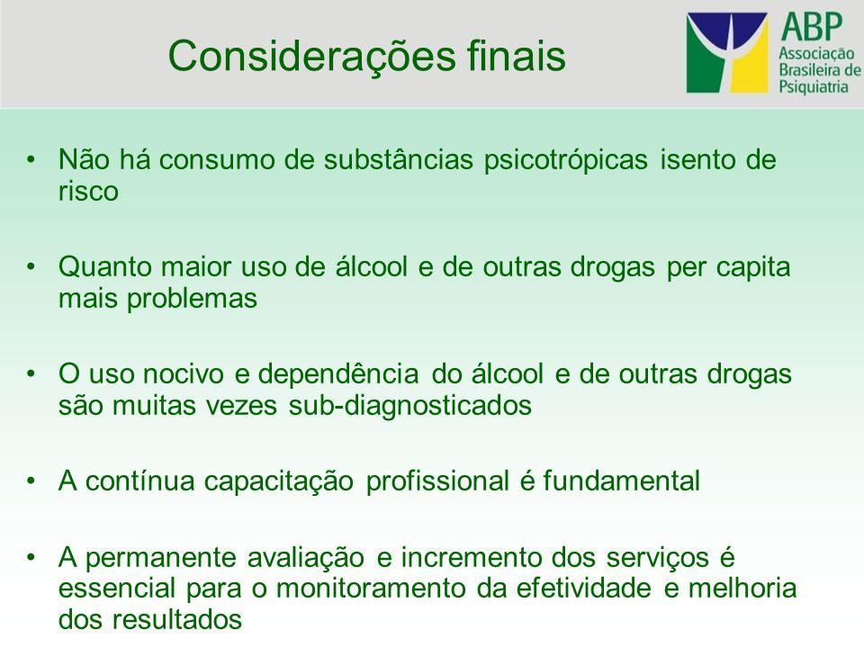 Considerações finais Não há consumo de substâncias psicotrópicas isento de risco.