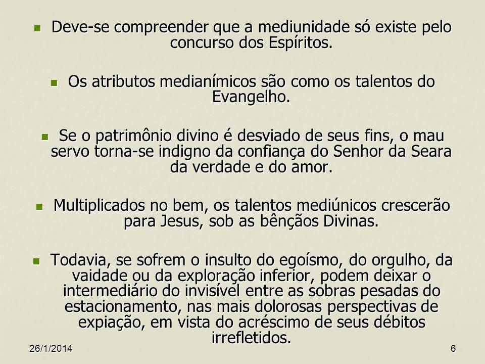 Os atributos medianímicos são como os talentos do Evangelho.