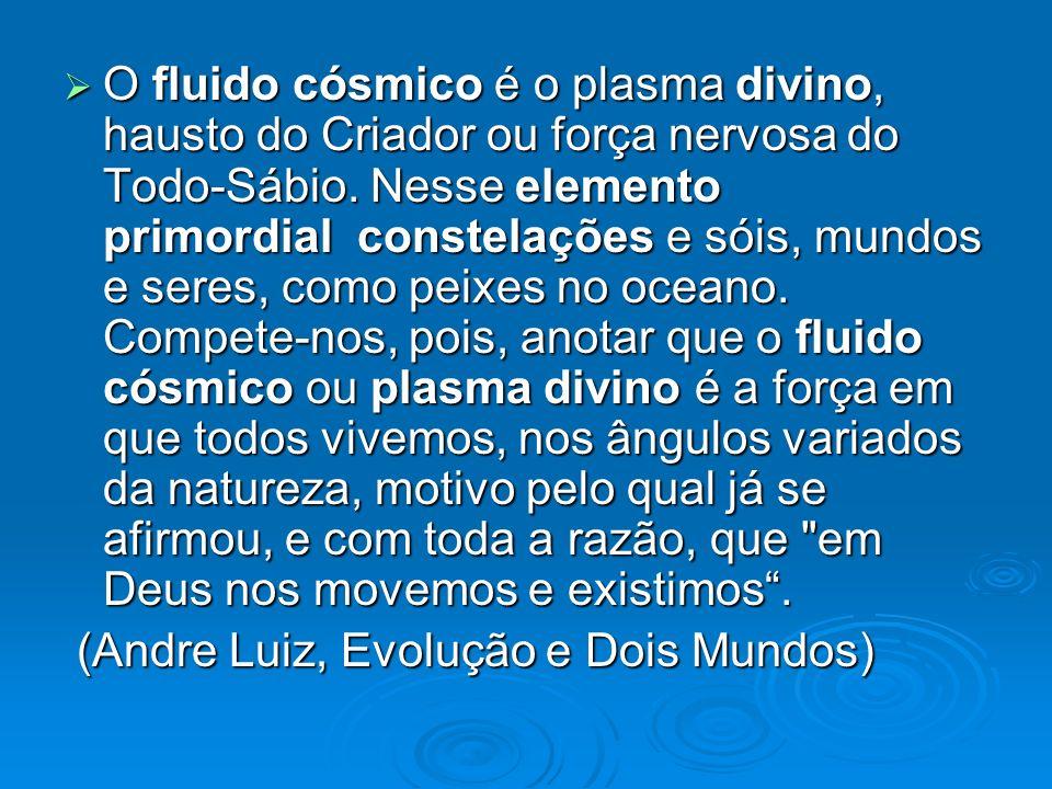 O fluido cósmico é o plasma divino, hausto do Criador ou força nervosa do Todo-Sábio. Nesse elemento primordial constelações e sóis, mundos e seres, como peixes no oceano. Compete-nos, pois, anotar que o fluido cósmico ou plasma divino é a força em que todos vivemos, nos ângulos variados da natureza, motivo pelo qual já se afirmou, e com toda a razão, que em Deus nos movemos e existimos .