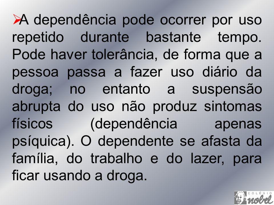 A dependência pode ocorrer por uso repetido durante bastante tempo