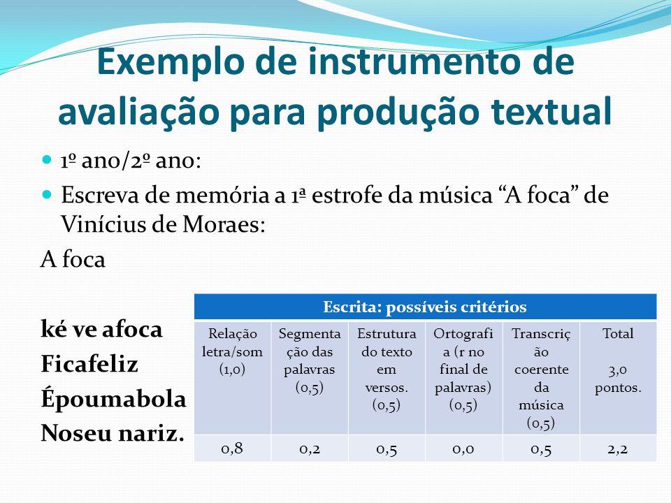 Exemplo de instrumento de avaliação para produção textual