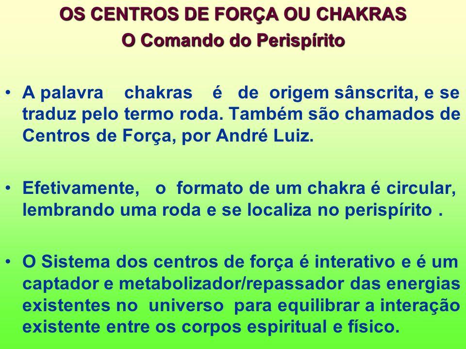 OS CENTROS DE FORÇA OU CHAKRAS O Comando do Perispírito