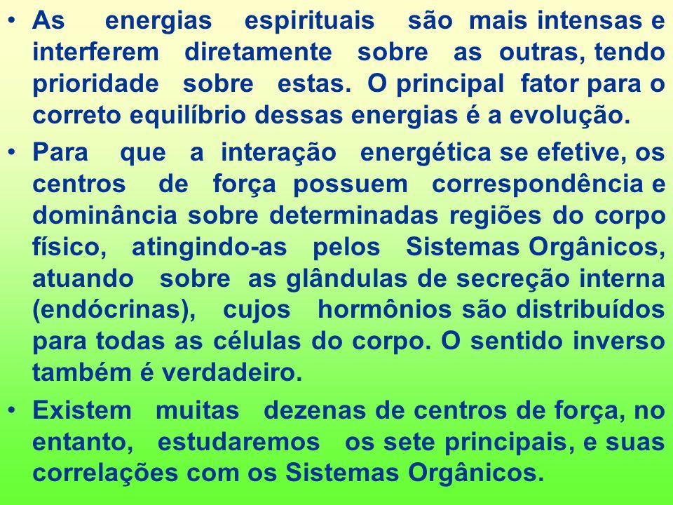 As energias espirituais são mais intensas e interferem diretamente sobre as outras, tendo prioridade sobre estas. O principal fator para o correto equilíbrio dessas energias é a evolução.