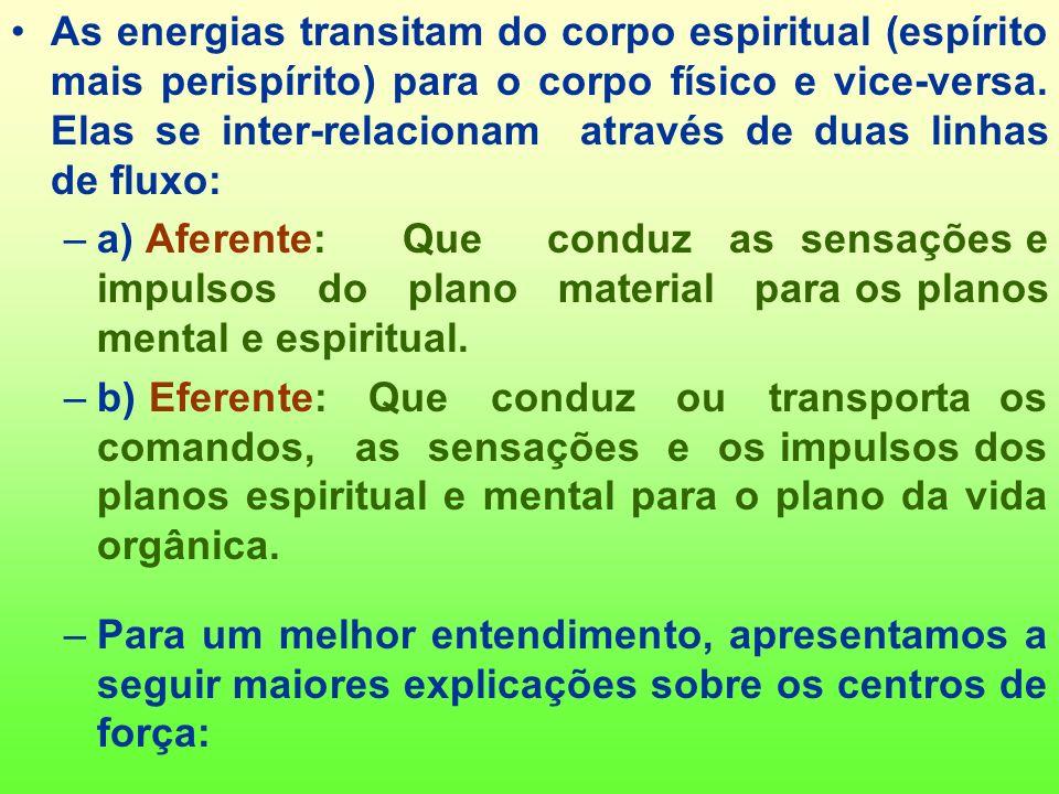 As energias transitam do corpo espiritual (espírito mais perispírito) para o corpo físico e vice-versa. Elas se inter-relacionam através de duas linhas de fluxo: