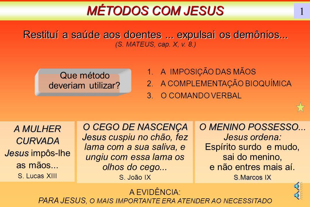 MÉTODOS COM JESUS 1. Restituí a saúde aos doentes ... expulsai os demônios... (S. MATEUS, cap. X, v. 8.)