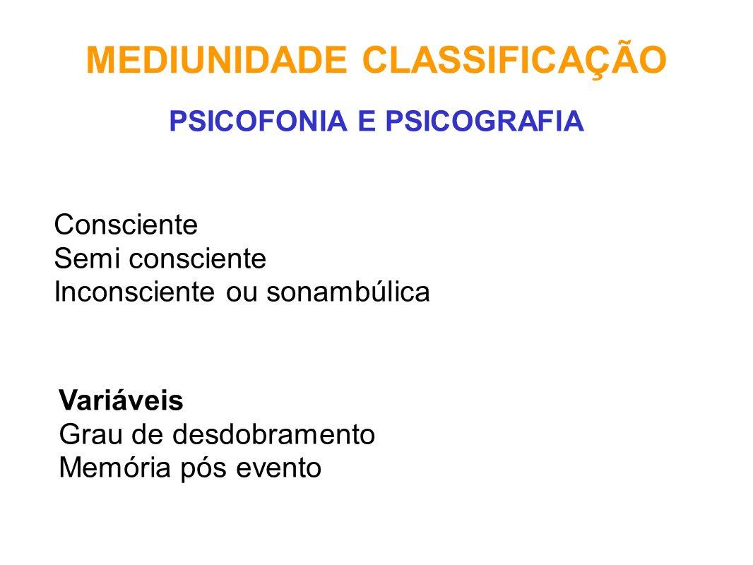 MEDIUNIDADE CLASSIFICAÇÃO