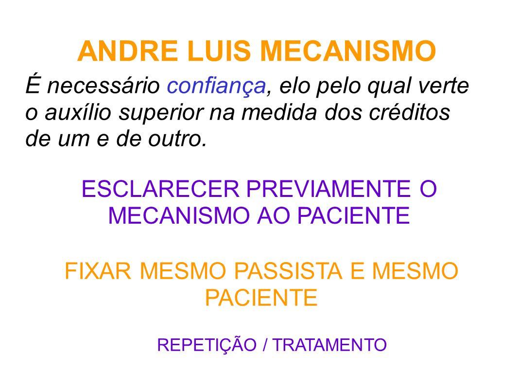 ANDRE LUIS MECANISMO É necessário confiança, elo pelo qual verte o auxílio superior na medida dos créditos de um e de outro.