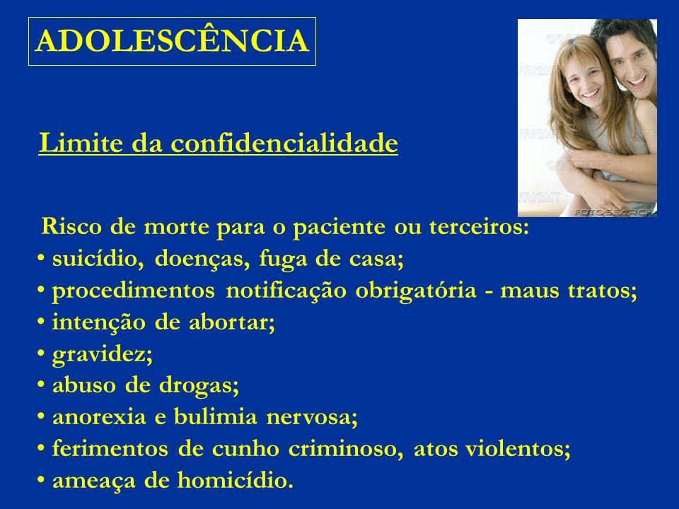 ADOLESCÊNCIA Limite da confidencialidade