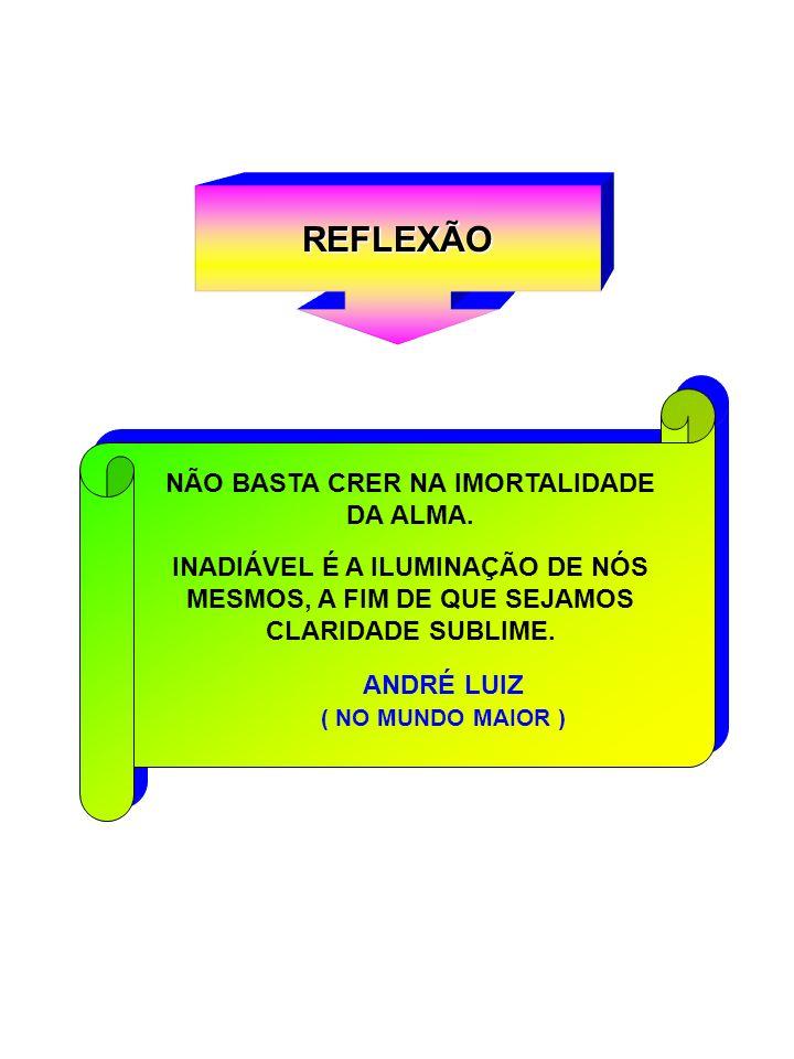 REFLEXÃO NÃO BASTA CRER NA IMORTALIDADE DA ALMA.