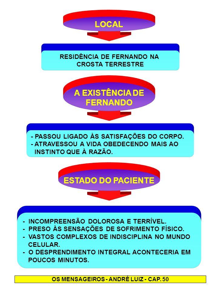 RESIDÊNCIA DE FERNANDO NA OS MENSAGEIROS - ANDRÉ LUIZ - CAP. 50