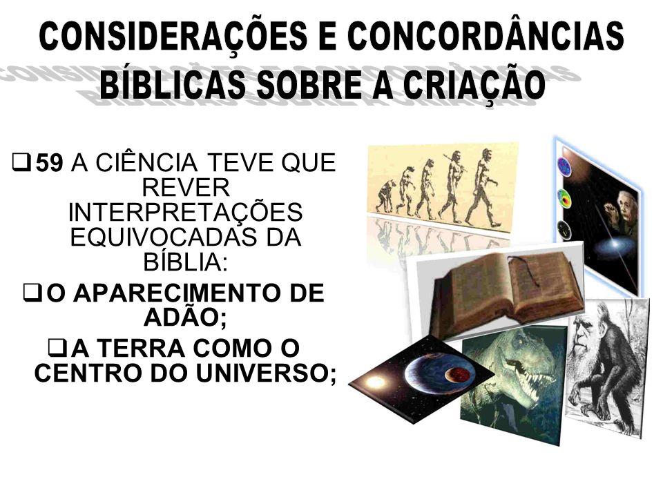 O APARECIMENTO DE ADÃO; A TERRA COMO O CENTRO DO UNIVERSO;