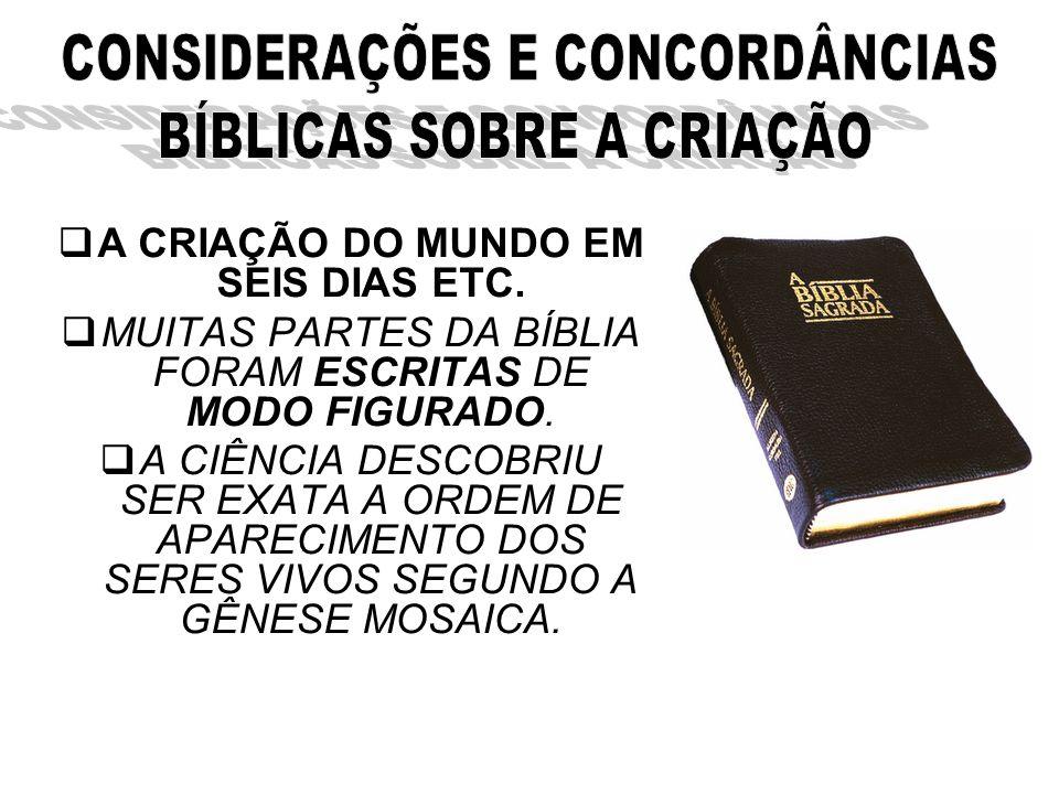 A CRIAÇÃO DO MUNDO EM SEIS DIAS ETC.