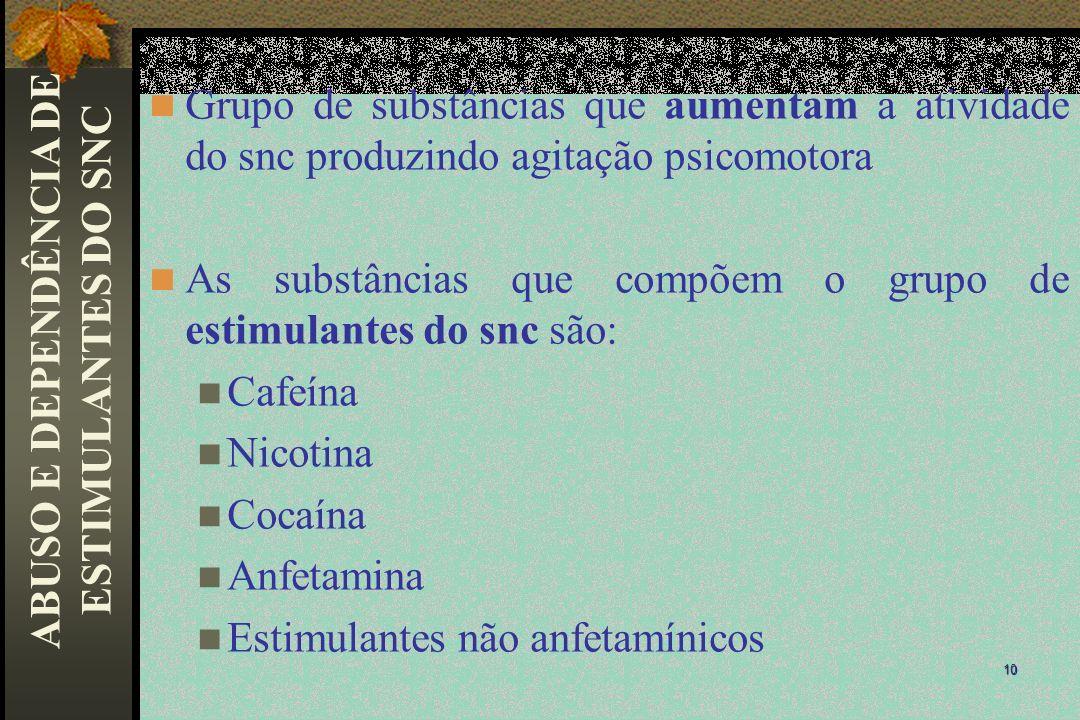 ABUSO E DEPENDÊNCIA DE ESTIMULANTES DO SNC