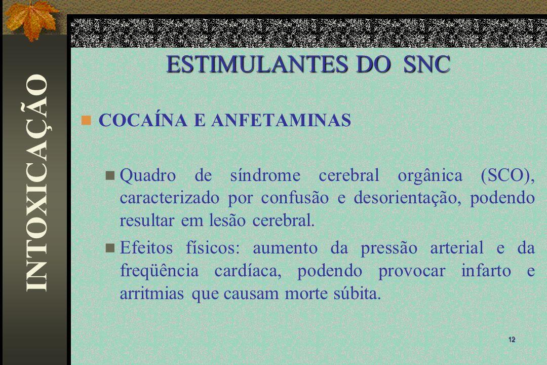 INTOXICAÇÃO ESTIMULANTES DO SNC COCAÍNA E ANFETAMINAS
