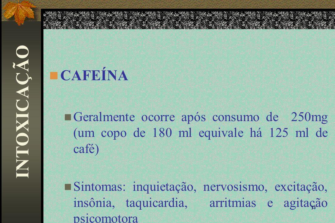 CAFEÍNA Geralmente ocorre após consumo de 250mg (um copo de 180 ml equivale há 125 ml de café)