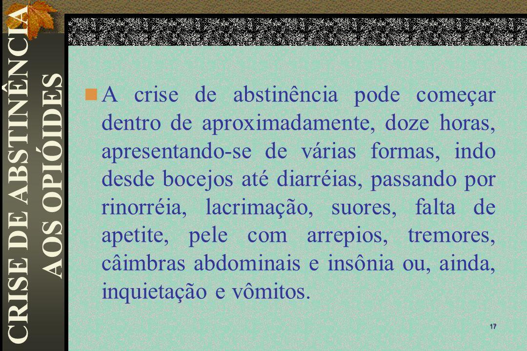 CRISE DE ABSTINÊNCIA AOS OPIÓIDES