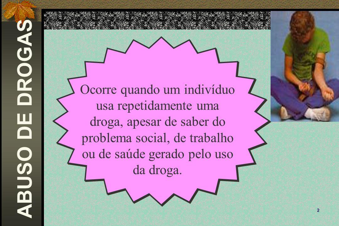 Ocorre quando um indivíduo usa repetidamente uma droga, apesar de saber do problema social, de trabalho ou de saúde gerado pelo uso da droga.