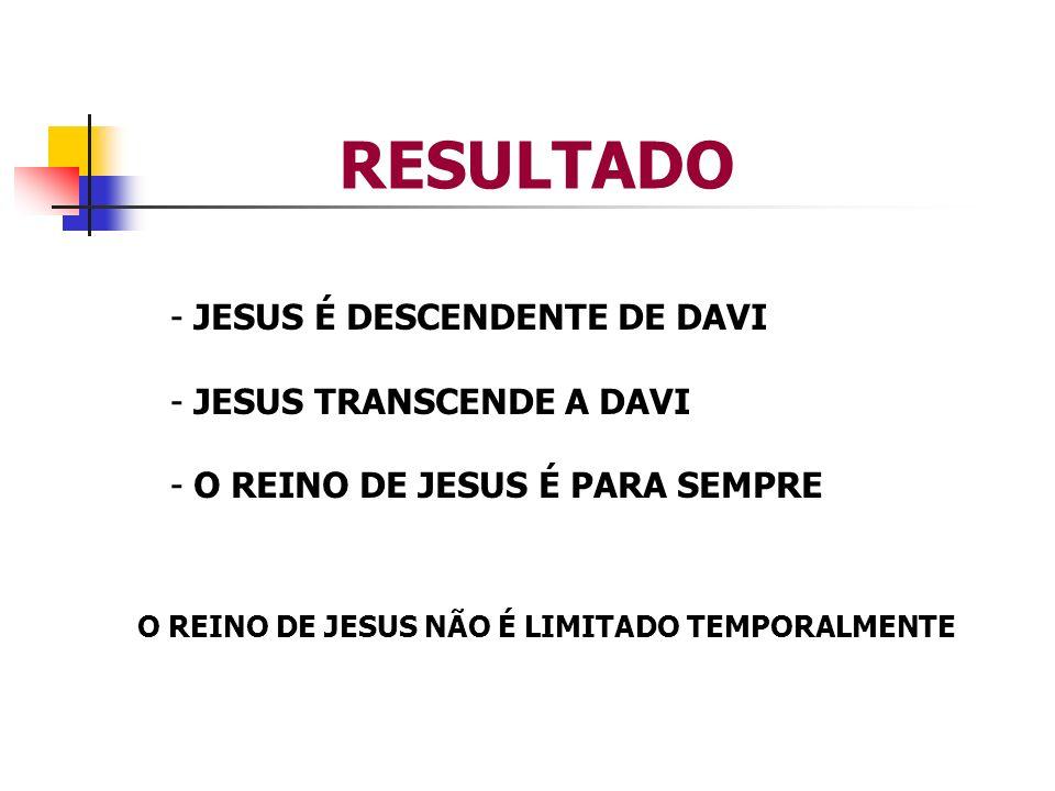 RESULTADO JESUS É DESCENDENTE DE DAVI JESUS TRANSCENDE A DAVI