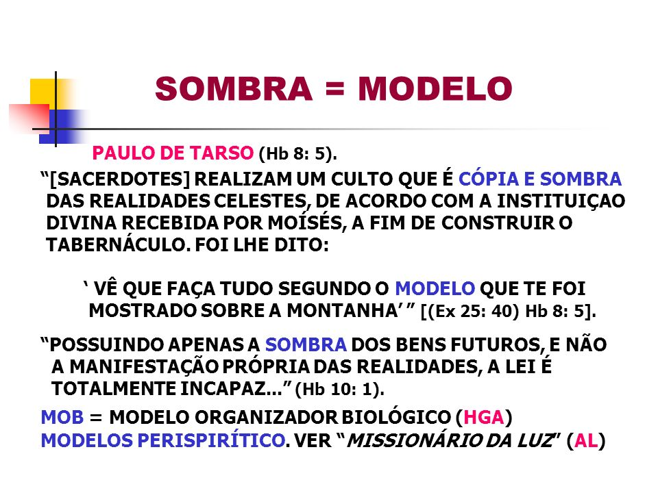 SOMBRA = MODELO PAULO DE TARSO (Hb 8: 5).