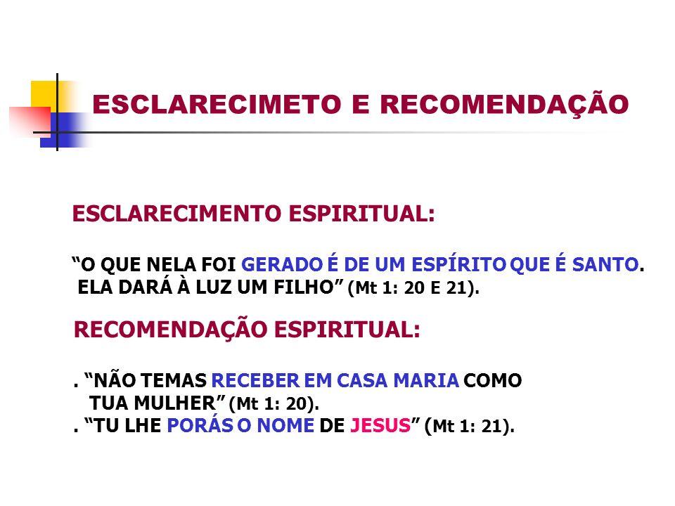 ESCLARECIMETO E RECOMENDAÇÃO
