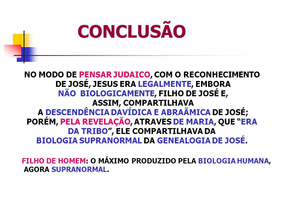 CONCLUSÃO NO MODO DE PENSAR JUDAICO, COM O RECONHECIMENTO