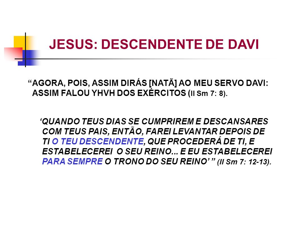 JESUS: DESCENDENTE DE DAVI