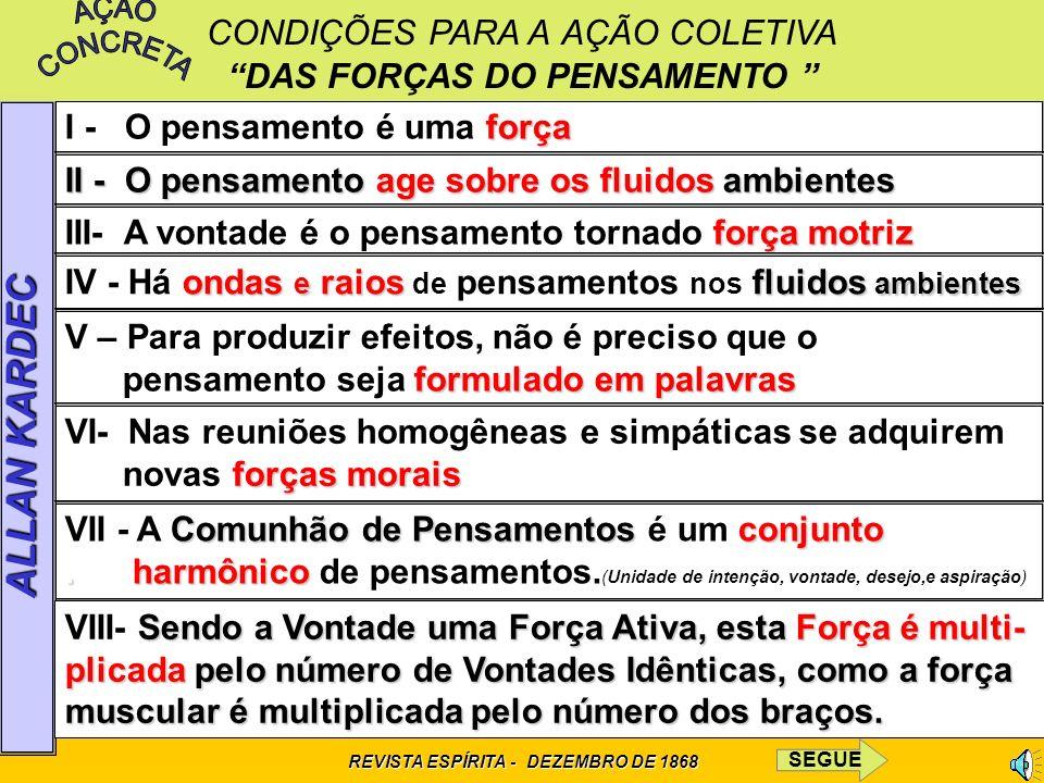 CONDIÇÕES PARA A AÇÃO COLETIVA DAS FORÇAS DO PENSAMENTO