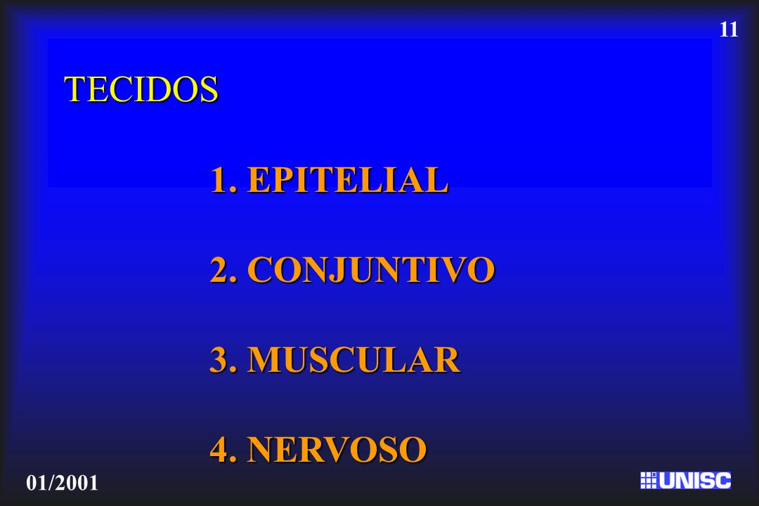 TECIDOS 1. EPITELIAL 2. CONJUNTIVO 3. MUSCULAR 4. NERVOSO