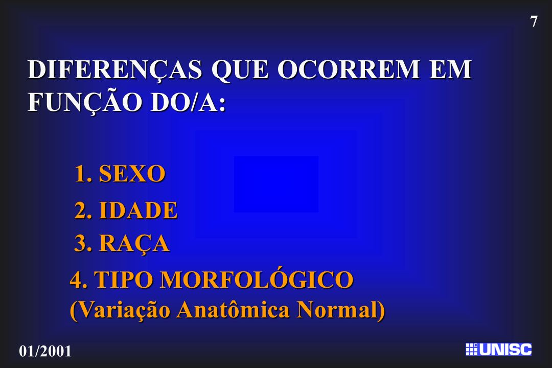 DIFERENÇAS QUE OCORREM EM FUNÇÃO DO/A: