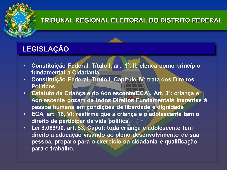 LEGISLAÇÃO Constituição Federal, Título I, art. 1º, II: elenca como princípio fundamental a Cidadania.