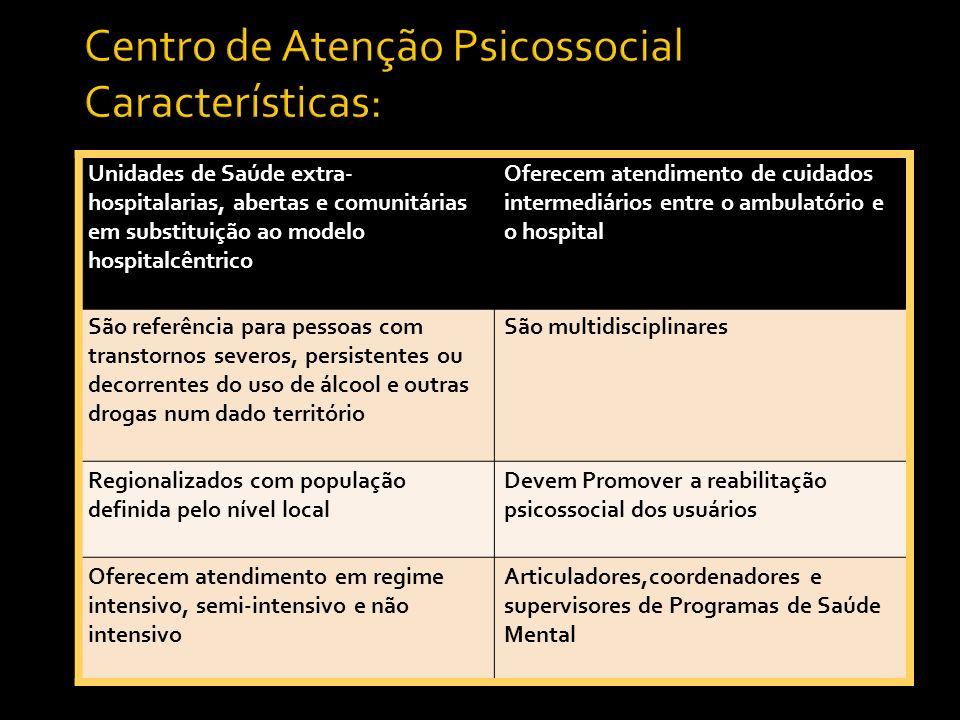 Centro de Atenção Psicossocial Características: