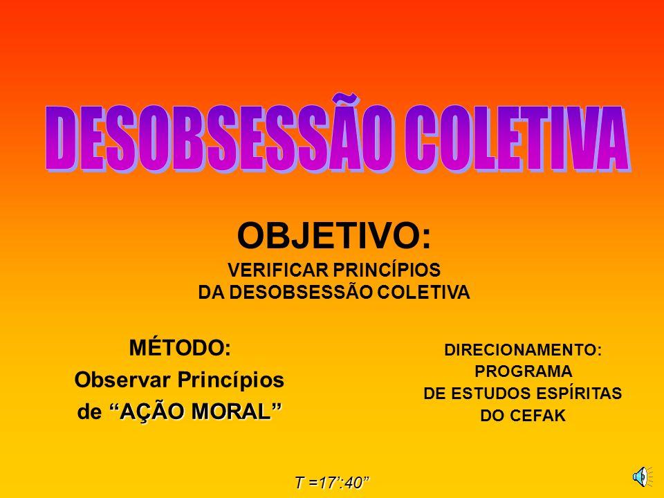 OBJETIVO: VERIFICAR PRINCÍPIOS DA DESOBSESSÃO COLETIVA