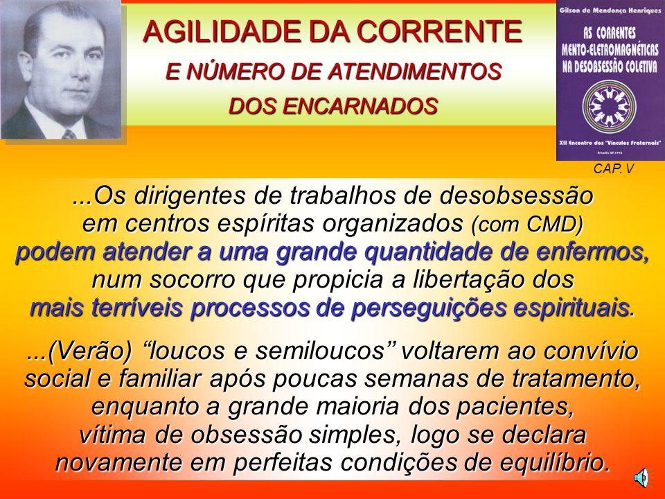 AGILIDADE DA CORRENTE E NÚMERO DE ATENDIMENTOS DOS ENCARNADOS