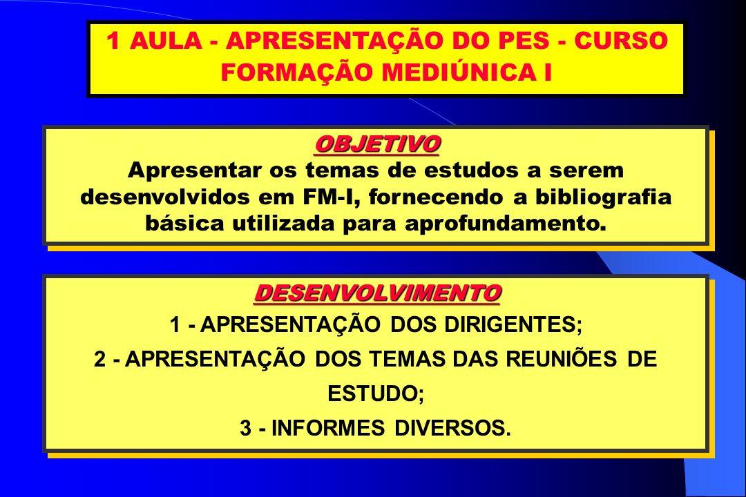 1 AULA - APRESENTAÇÃO DO PES - CURSO FORMAÇÃO MEDIÚNICA I