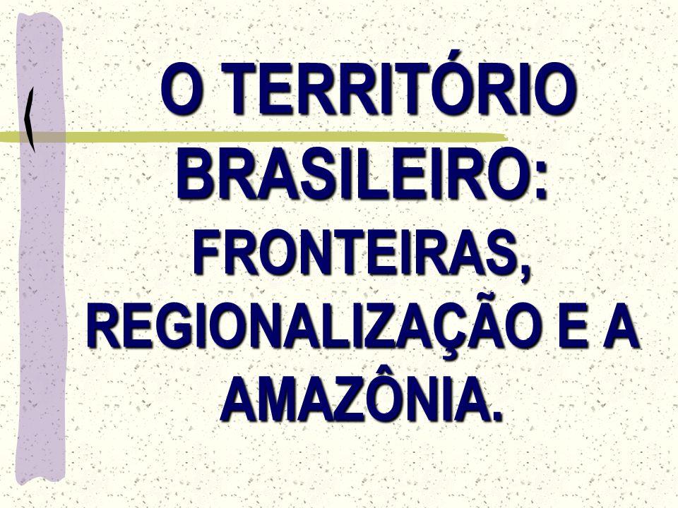 O TERRITÓRIO BRASILEIRO: FRONTEIRAS, REGIONALIZAÇÃO E A AMAZÔNIA.