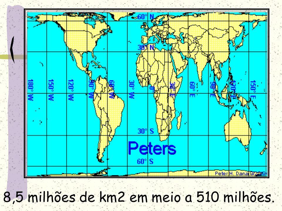 8,5 milhões de km2 em meio a 510 milhões.