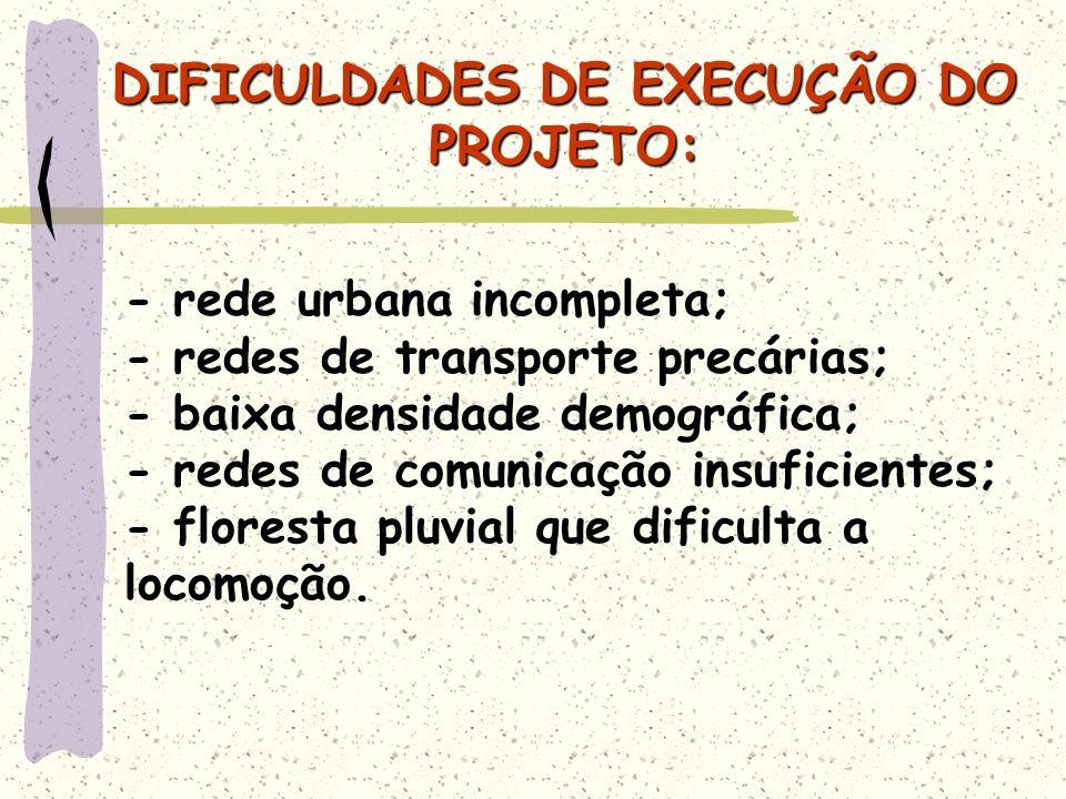 DIFICULDADES DE EXECUÇÃO DO PROJETO: