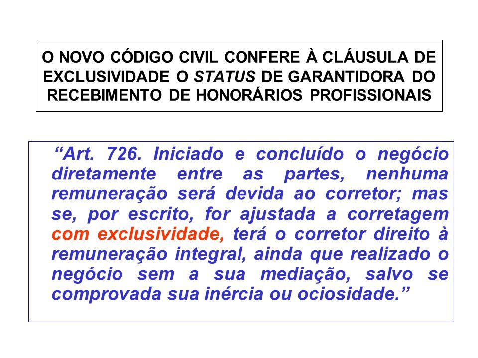 O NOVO CÓDIGO CIVIL CONFERE À CLÁUSULA DE EXCLUSIVIDADE O STATUS DE GARANTIDORA DO RECEBIMENTO DE HONORÁRIOS PROFISSIONAIS