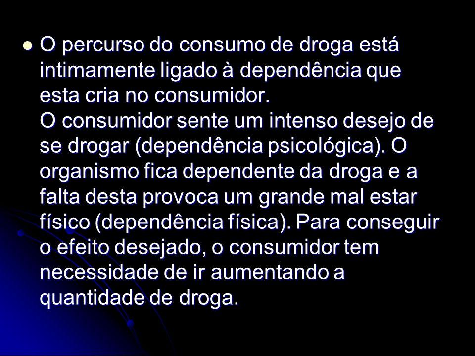 O percurso do consumo de droga está intimamente ligado à dependência que esta cria no consumidor.