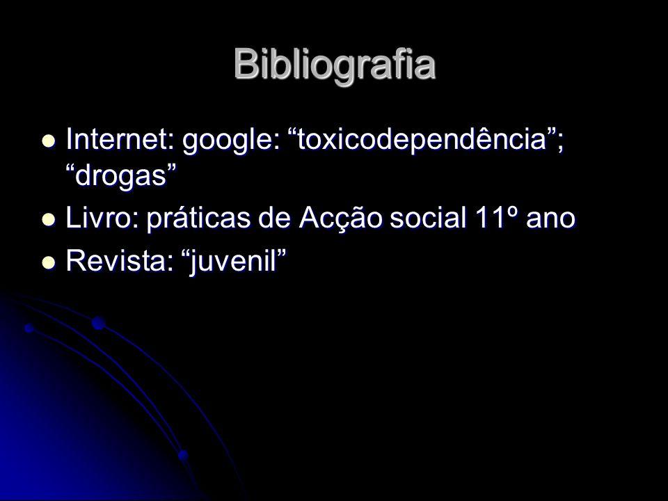 Bibliografia Internet: google: toxicodependência ; drogas