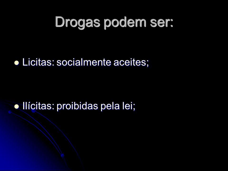 Drogas podem ser: Licitas: socialmente aceites;