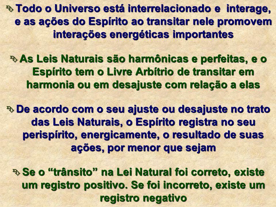Todo o Universo está interrelacionado e interage, e as ações do Espírito ao transitar nele promovem interações energéticas importantes