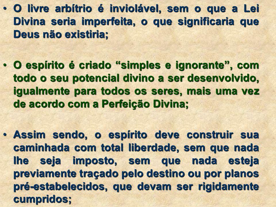 O livre arbítrio é inviolável, sem o que a Lei Divina seria imperfeita, o que significaria que Deus não existiria;