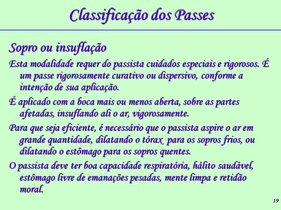Classificação dos Passes