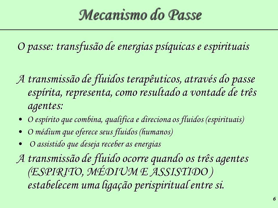 Mecanismo do Passe O passe: transfusão de energias psíquicas e espirituais.