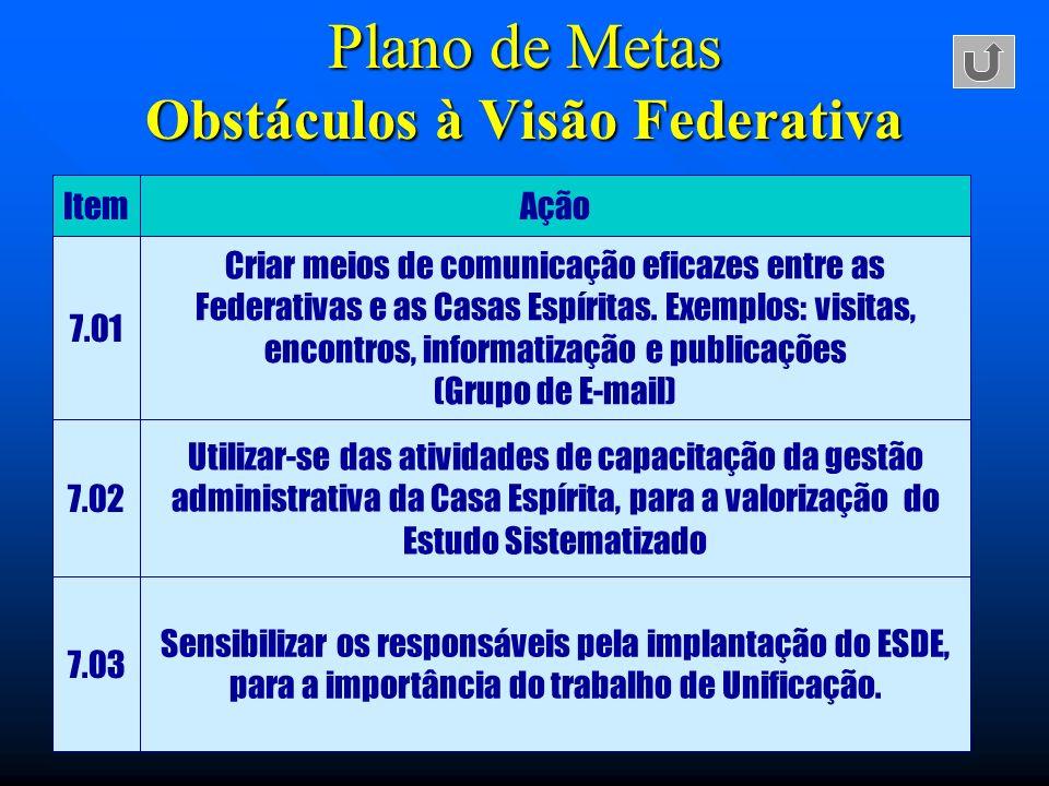 Plano de Metas Obstáculos à Visão Federativa
