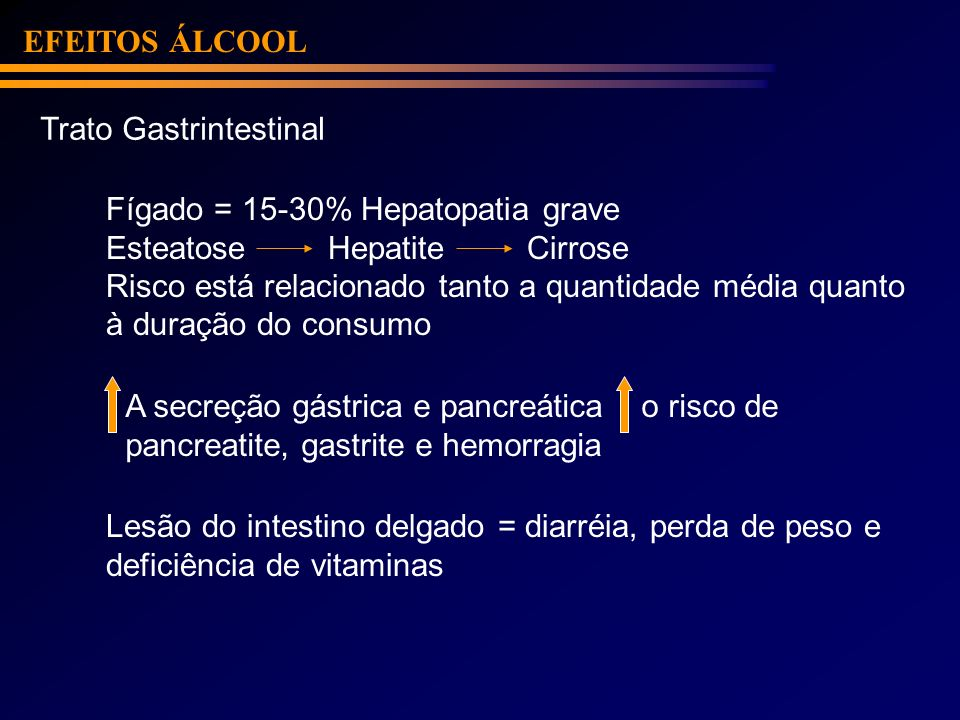 EFEITOS ÁLCOOLTrato Gastrintestinal. Fígado = 15-30% Hepatopatia grave. Esteatose Hepatite Cirrose.