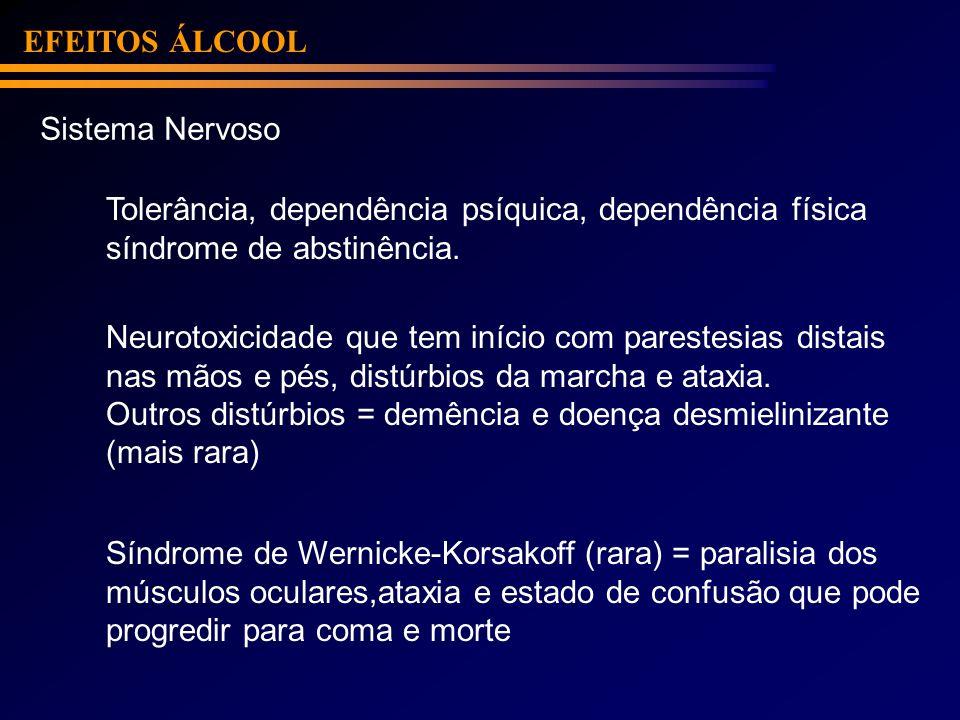 EFEITOS ÁLCOOL Sistema Nervoso. Tolerância, dependência psíquica, dependência física. síndrome de abstinência.